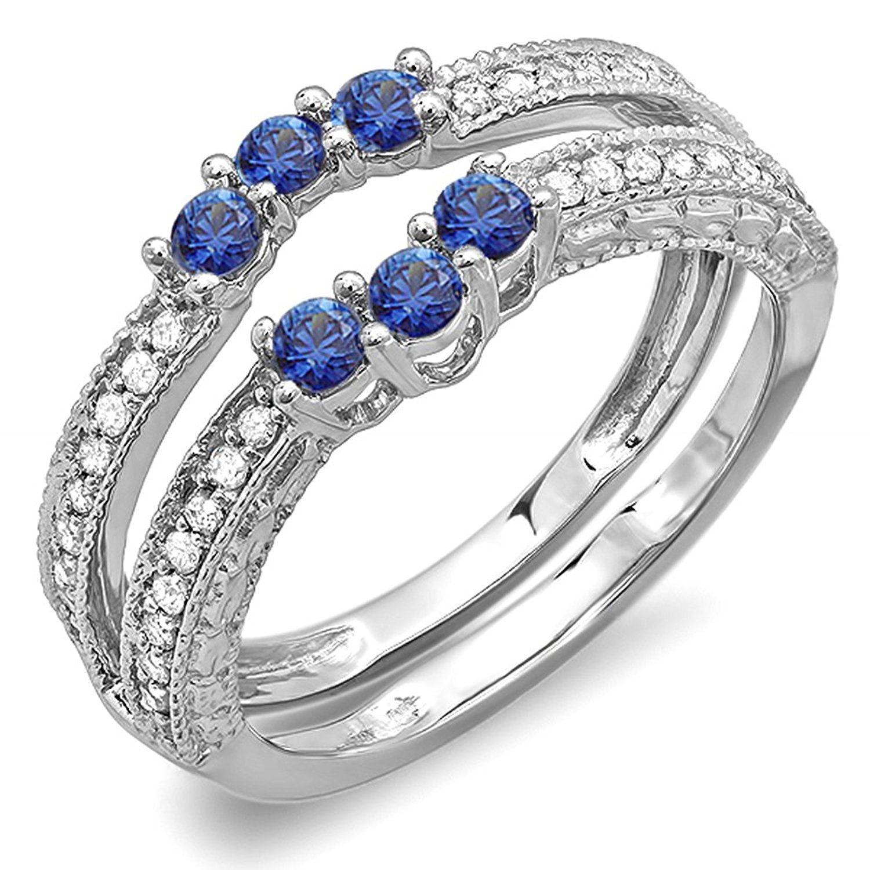 DazzlingRock Collection 14K White Gold Round Blue Sapphire And White Diamond Ladies Anniversary Wedding Band Enhancer Guard