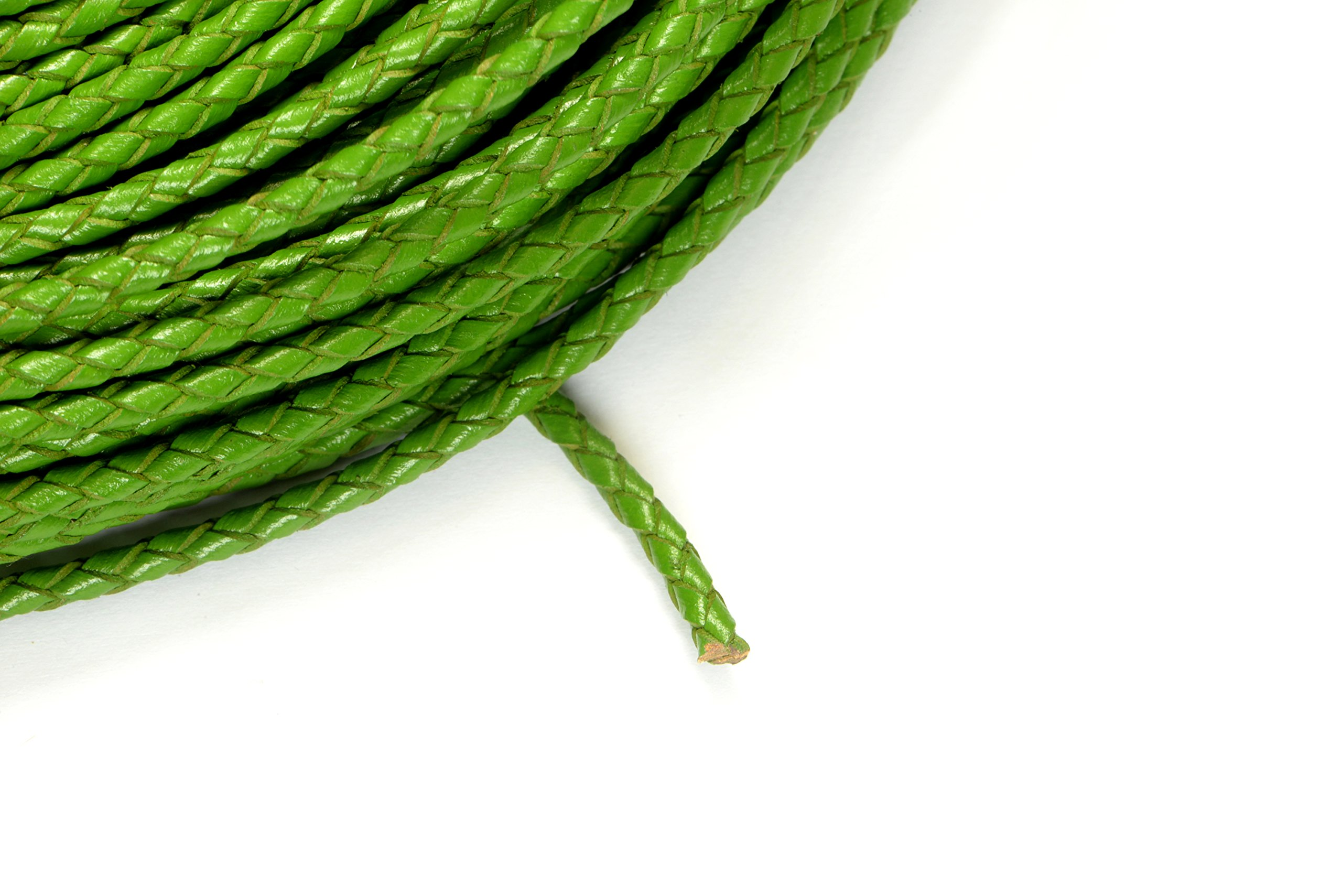 8ft (2.43m) (2.66 yards) 3mm Braided Leather Bolo Cord in Green, Round Genuine Leather Cord, Twisted Cord #SD-S7796