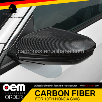 Fits For Honda Civic Coupe 2016+ Carbon Fiber Side Mirror Covers No LED