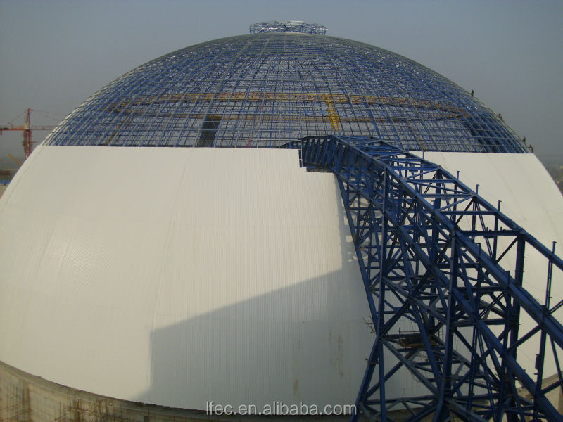 Prefab light steel long span roof for power plant dome building