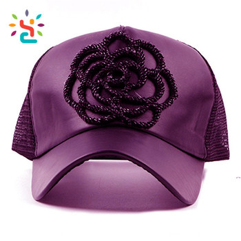 Mesh purple hat 3D rope flower baseball cap leather crown bill trucker  sports running caps full e17ddbd655b