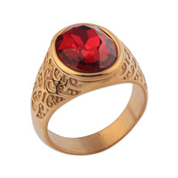High Quality Gold Ruby Designs Zircon Ring For Men
