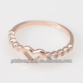 Cz Diamond Rose Gold Heart Shaped Cute Ring For Lovely Girls Wx617