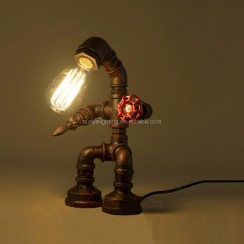 Stile Industriale Retrò Ferro Ruggine Robot Tavolo Idraulico Tubo Di Luce Scrivania Lampada Da Tavolo Luce Con Red Maniglia Della Valvola E Passare 1