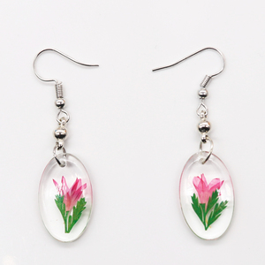 2019 fashion Jewelry mini earrings resin real flower Anime Earring for woman