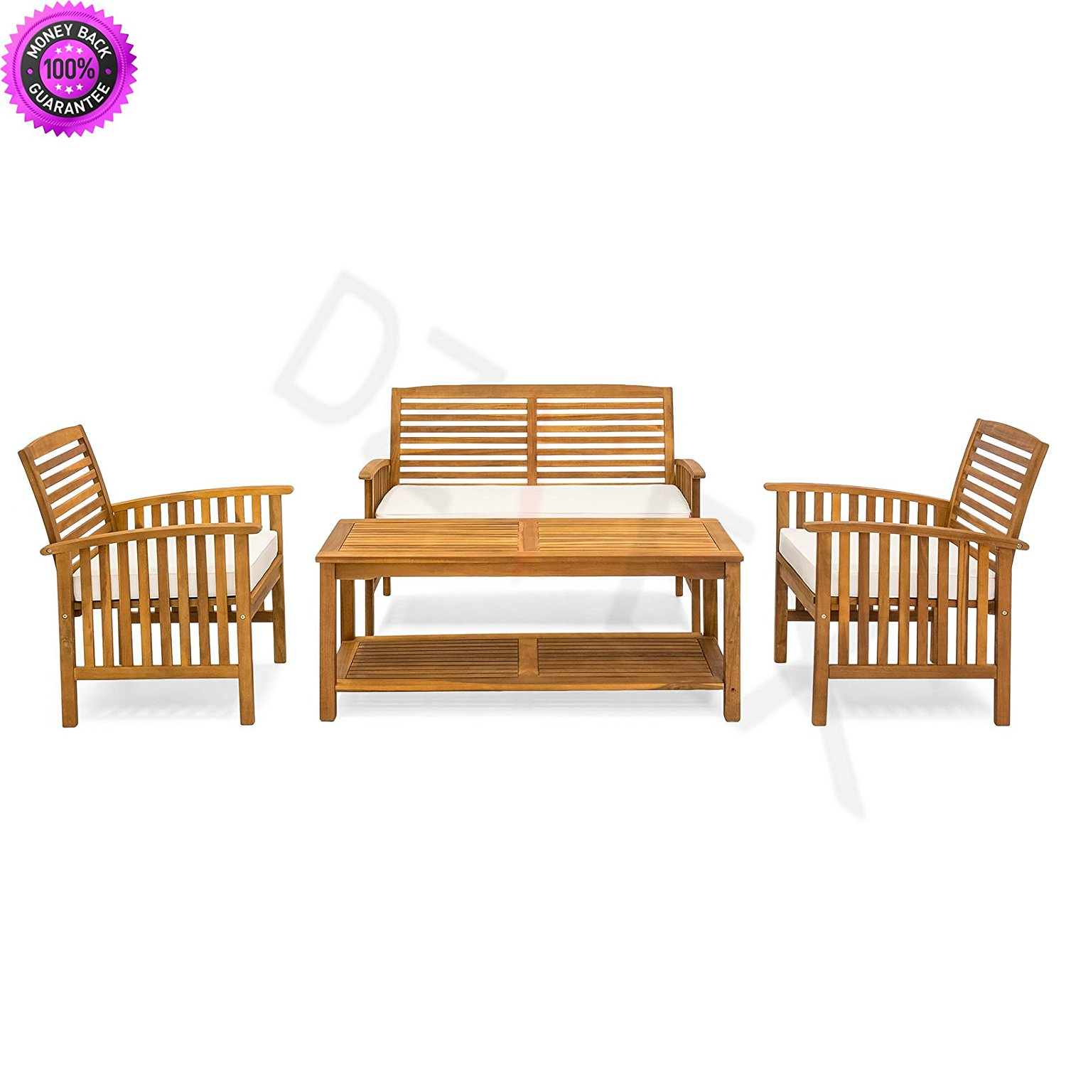 Get Quotations Dzvex Slatted 4 Piece Acacia Wood Sofa Set W Water Resistant Cushions And Patio
