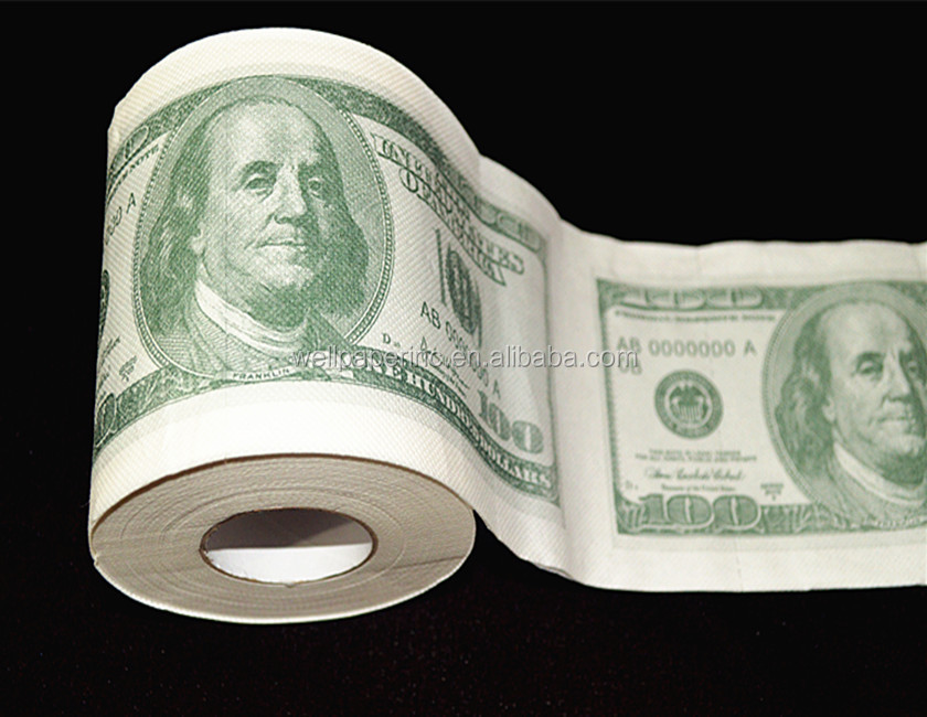 Fake geld dollars Tissue Custom Gedrukt toiletrolhouder paper