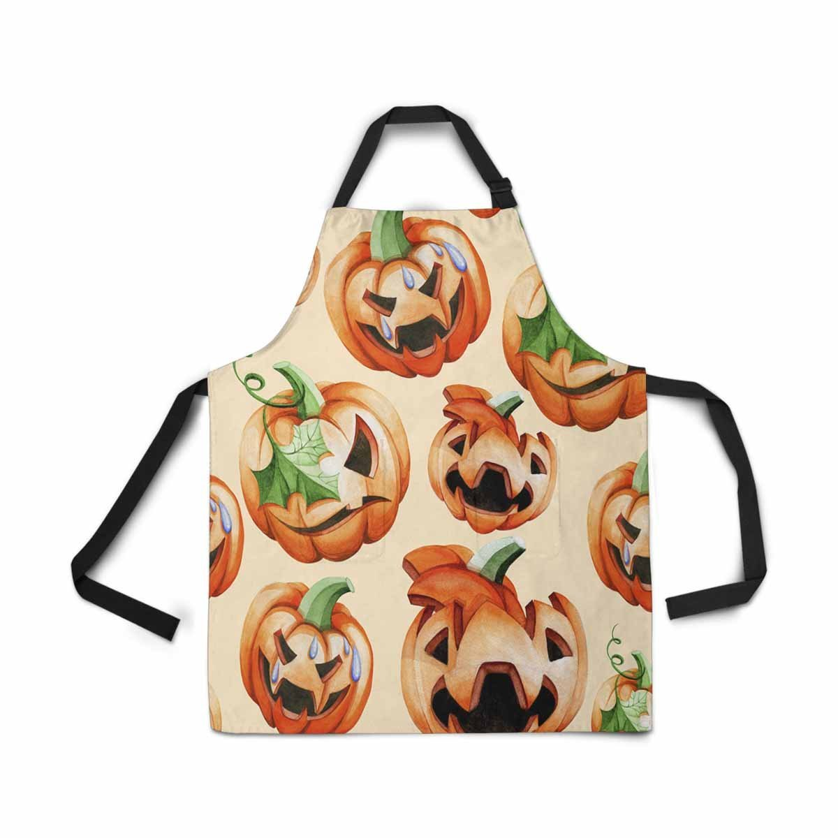 InterestPrint Treat Pumpkin Apron Kitchen Cook for Women Men Girls Chef with Pockets, Halloween Harvest Funny Adjustable Bib Baking Paint Cooking Apron Dress
