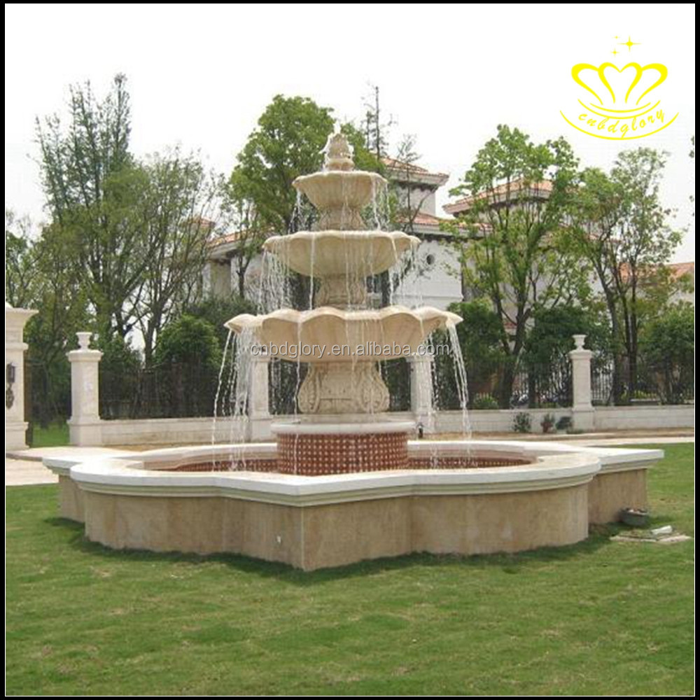 Large Outdoor Fountain European Character Sculpture White Marble Water  Fountain