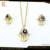 Fashion Jewelry Evil Eye And Necklace Crystal Rhinestone Gold Plated Stainless Steel Jewelry Sets