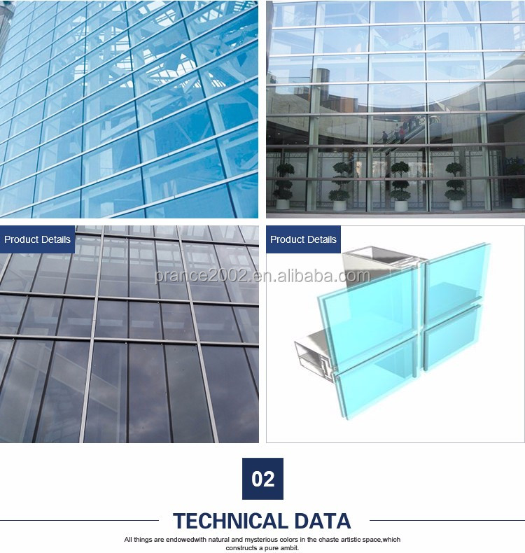 2016 new design frameless glass curtain wall price