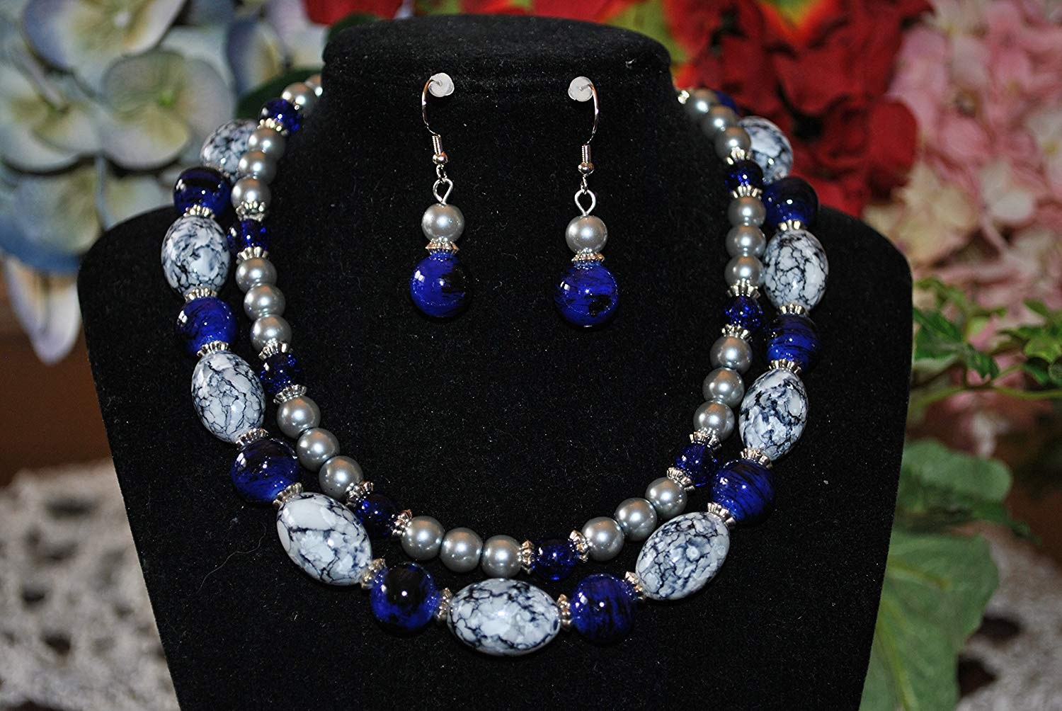 91d48efc0543a Get Quotations · Beautiful double layer pearl and blue bead necklace with  matching earrings. Necklace measures 7