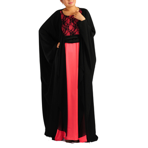 KJ-WAB6012 Moroccan loose designs black muslim caftan with lace in front islamic kaftans for muslim women dress