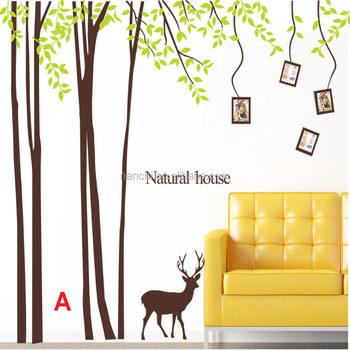 Park Deer Natural House Tree Wall Decal Living Room Princess Room Decor  Wallpapers Home Decoration Carved