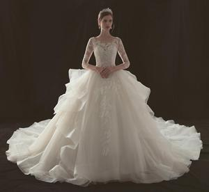 beautiful long sleeve wedding gowns organza bridal ball gown wedding dresses beaded lace wedding dress with train