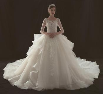 Beautiful Long Sleeve Wedding Gowns Organza Bridal Ball Gown Dresses Beaded Lace Dress With
