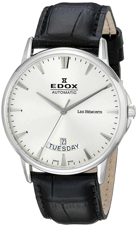 Edox Men s 83015 3 BIN Les Bemonts Analog Display Swiss Automatic Black  Watch f05f2e306d0