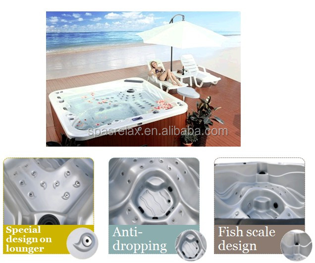 TV LED waterfall air jet massage plastic hight quality hot tubs made in china