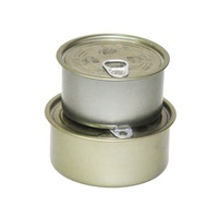 Container Food Empty Metal Gold Round Small Tin Can With Lid