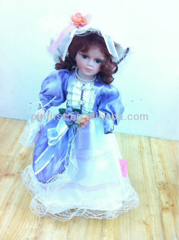 SALE-Ceramic Collectible Victorian Dolls Colorful Dress