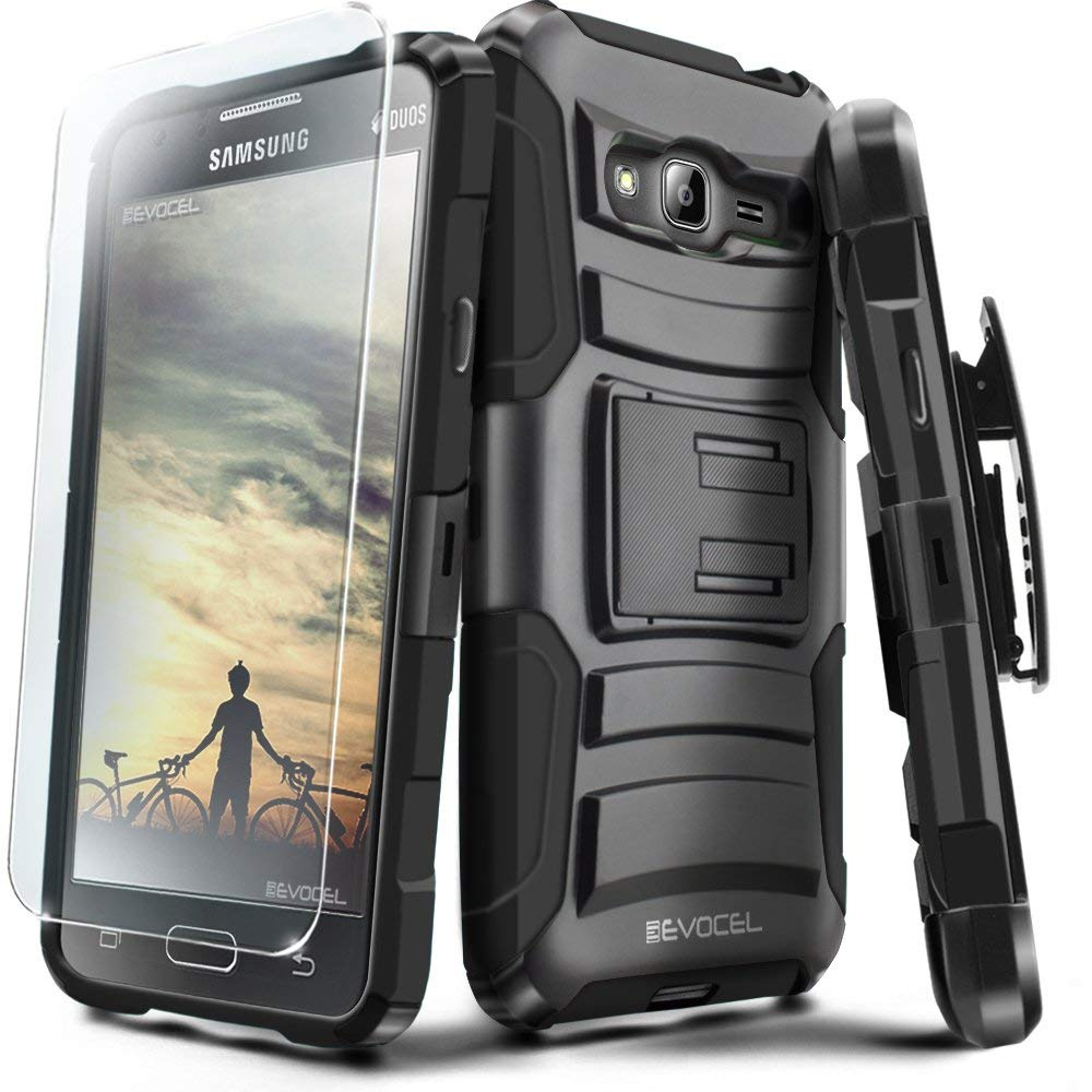 Galaxy J3 (2016) / Express Prime / J3 V Case, Evocel [Generation Series] Belt Clip, Kickstand, HD Screen Protector, Dual Layer for Samsung J3 (Model No J320) / Galaxy Sky/Galaxy Sol, Black