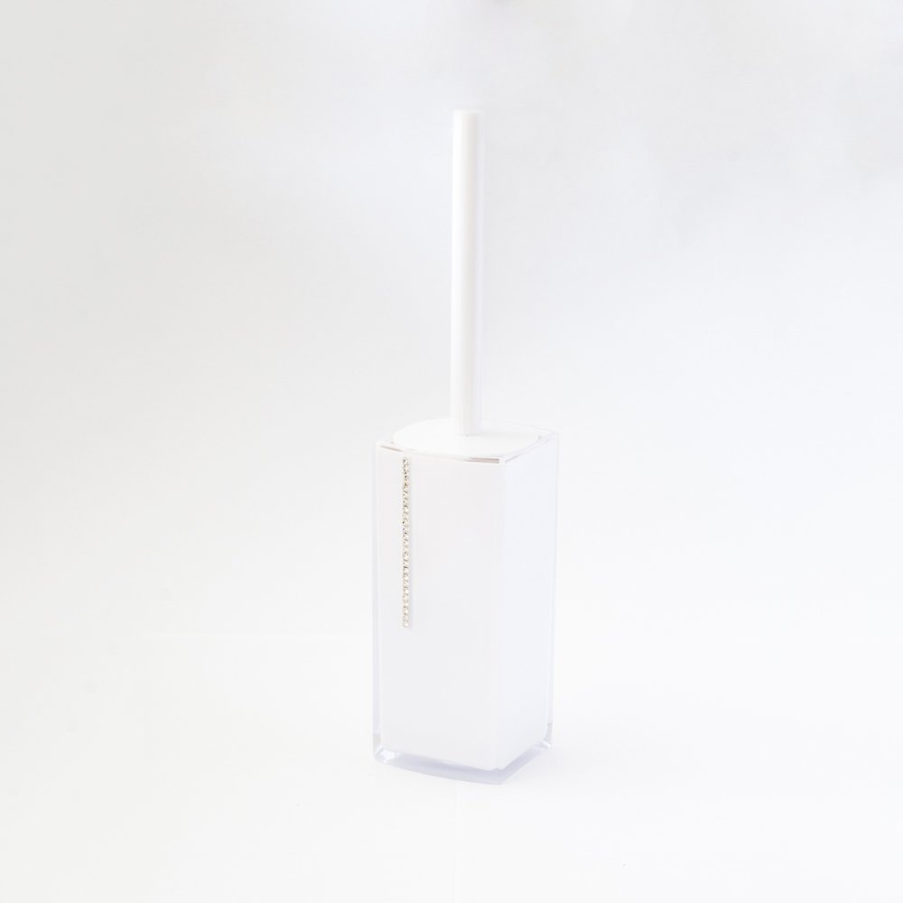 JustNile Luxurious Hideaway Toilet Bowl Brush & Holder;, Decorative Caddy & Perfect for Cleaning; Unique, Slim, Compact & Beautiful Design for Bathroom/Washroom - White Jewel