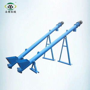 Inclined ground screw augers conveyor with hopper