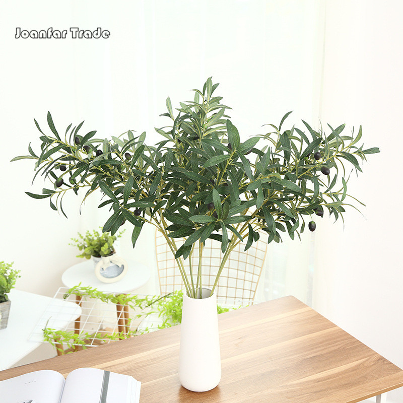 2019 Affordable Real Like Brown Silk Faux Artificial Olive <strong>Tree</strong> Real Touch Branches with Fruit Leaves