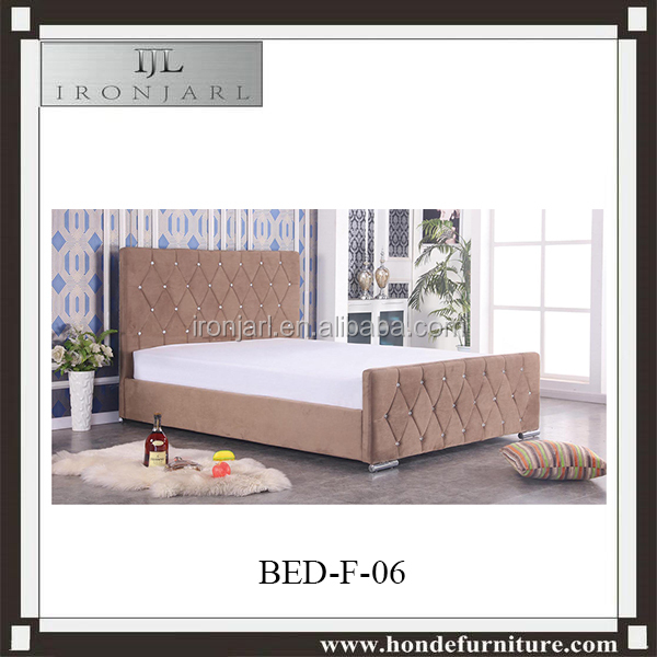 Luxury Furniture Tufted Velvet Flat Fabric Double Bed With Diamond Crystal Y