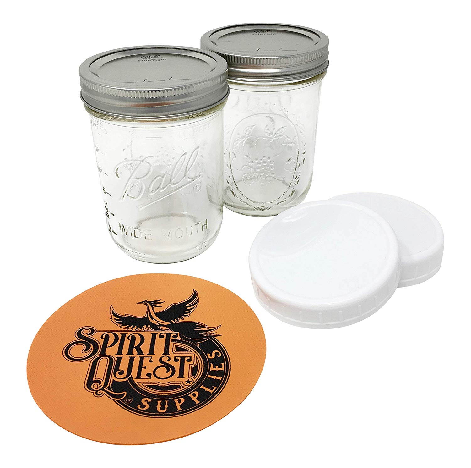 Ball Pint Mason Jars with Storage Lids and Jar Opener - Bundle Pack of 2 16 oz Wide Mouth Jars, 2 Storage Caps, and 1 Spirit Quest Supplies Large Jar Opener