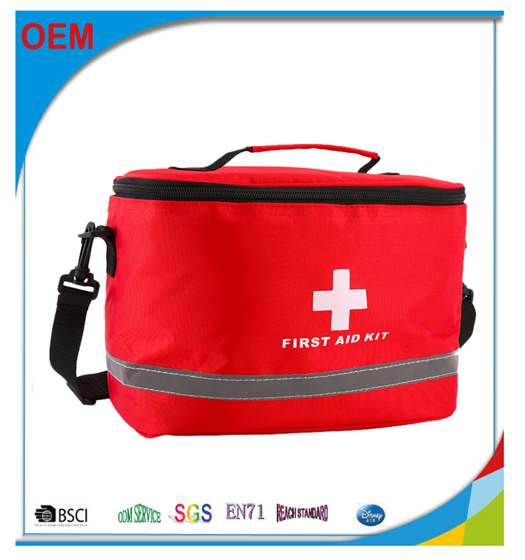 Red Striking Cross Home Medical Emergency Survival First Aid Kit Bag