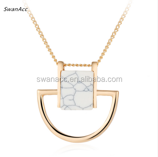 Hot New Maxi Women Chocker Jewelry Gold Color Casual Fashion Sweater Stone Pendant Necklaces for Women