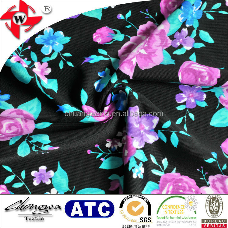chuangwei textile newest designer lycra elegance printed fabric for women's dress