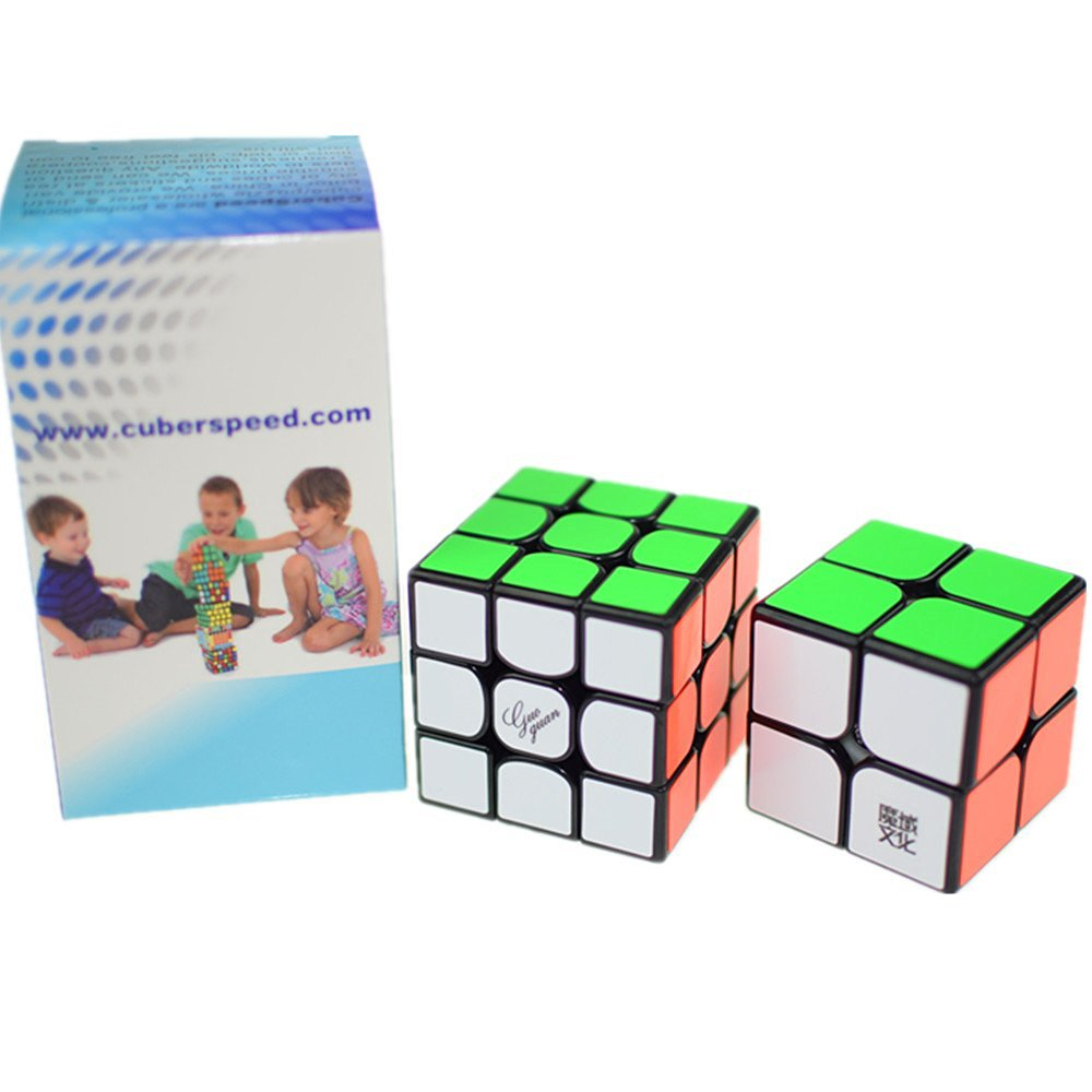 CuberSpeed Speedcubing Advanced Bundle Moyu Weipo 2x2 Black & Guoguan Yuexiao Black 3X3 Magic cube Black Speed cube Puzzle