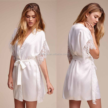74c9217d30 Pure Silk Satin Nightwear Silky Soft Eyelash Lace Trimmed Robe Woman New  Sexi Nighti Design - Buy Women New Sexy Nighty Design