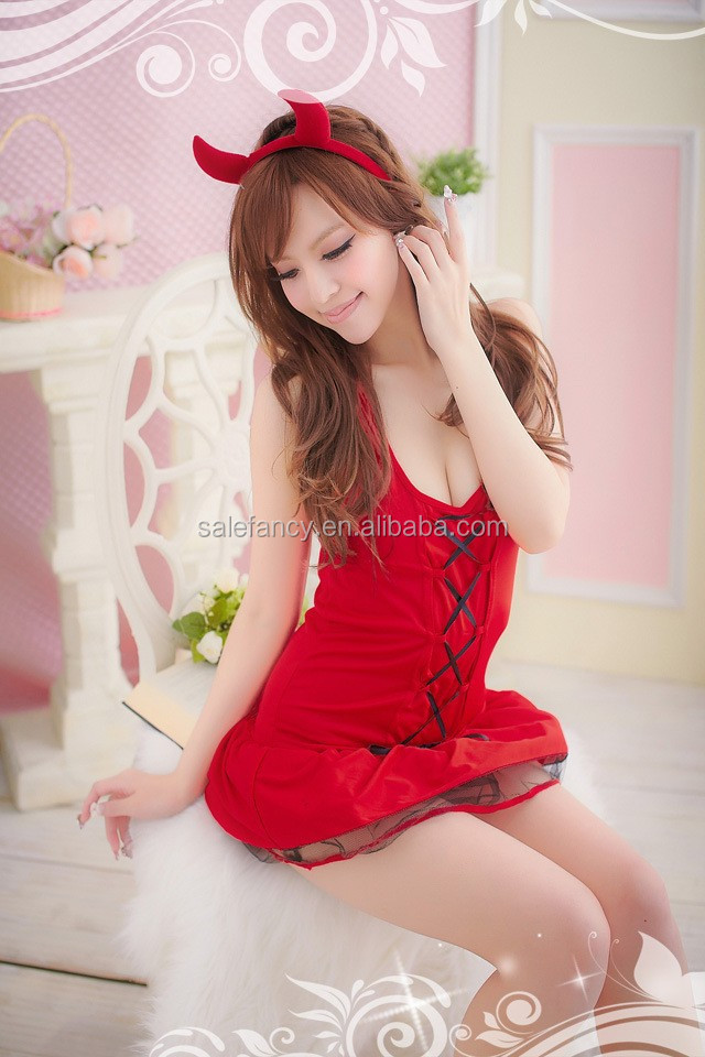 Red Sexy Devil Party Costume Women female Cosplay Teddy Lingerie New Play  Wear QAWC-2549