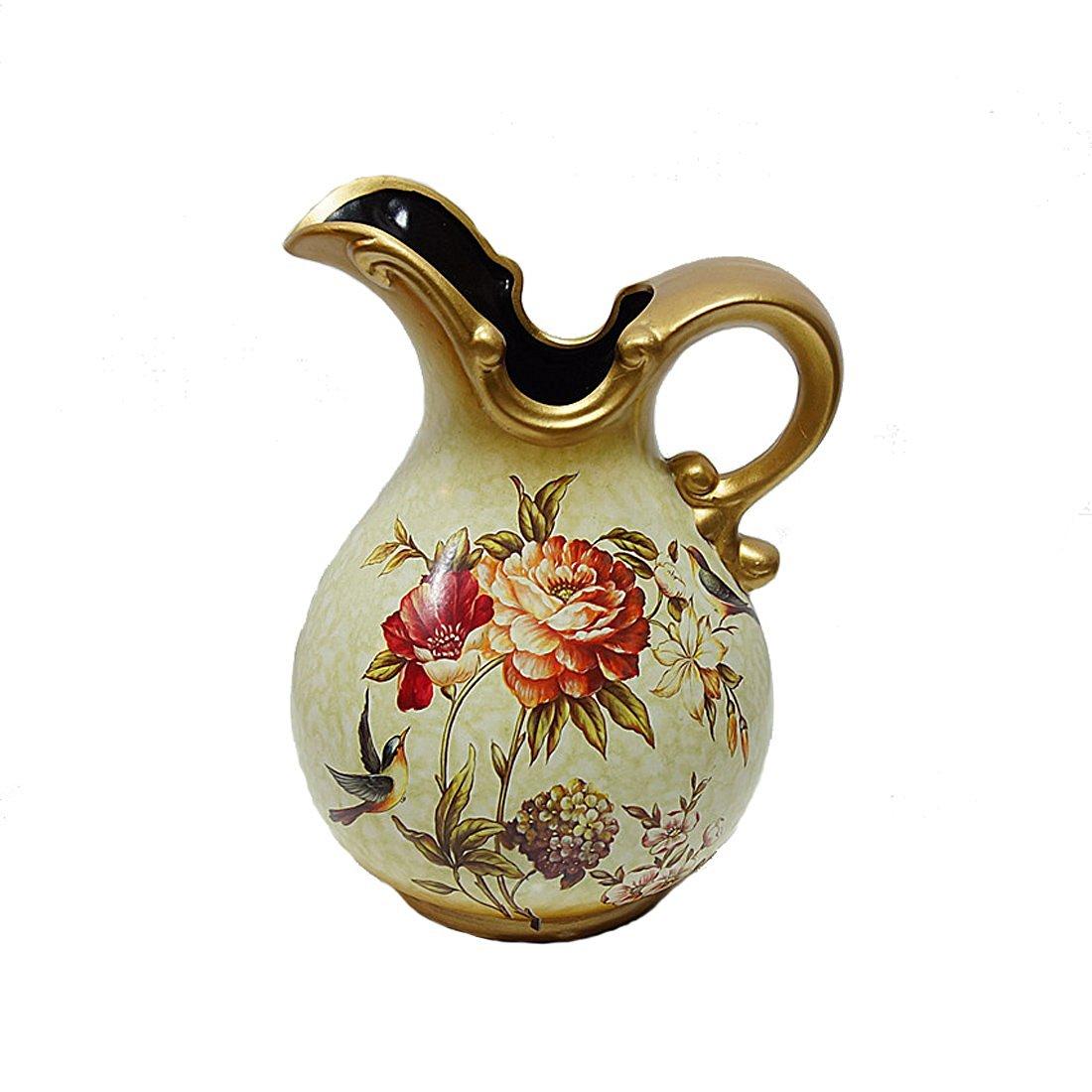 European Style Retro Ceramic Vase American Country Retro Flower Vase Table Painting Ceramic Vase Home Furnishing Floral Decoration Vase Wedding Decoration Vase