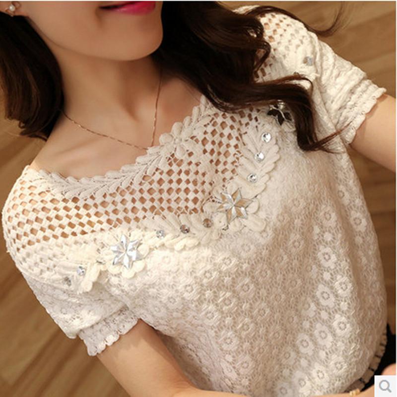 2015 החדשים נשים האביב תחרה חלולה החוצה בתוספת גודל צמרות חולצות נשים בגדי לבן Roupas Blusas Femininas חולצה חולצות