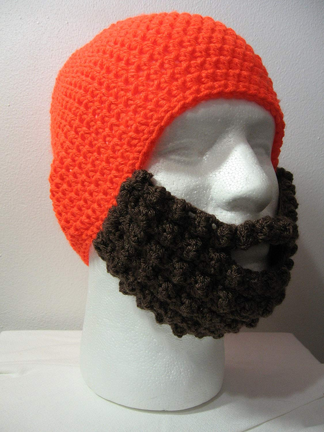 5b365a1e420 Get Quotations · Handmade Crochet Hat with Beard in Neon Orange