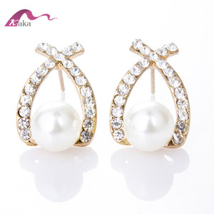 Korean Cross Pearl Flash Crystal Diamond Ear Studs Exquisite fashion earrings special mixed batch Pearl jewelry
