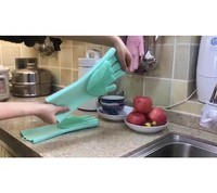 TrymeMultifunctional Gloves Reusable Heat Resistant Silicone Washing Glove Cleaning Brush Scrubber Gloves Kitchen