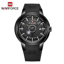 NAVIFORCE 9107 Silicone Strap Data Men Quartz Sport Watch Calendário Mens Relógios naviforce montre