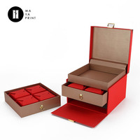 Customize printing red gift paper moon cake packaging box with inner drawer