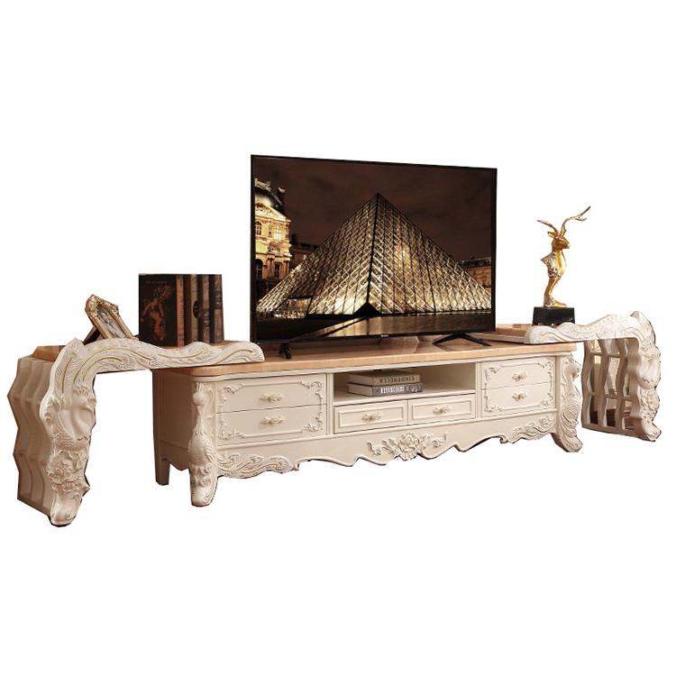 Antique living room furniture set marble TV cabinet