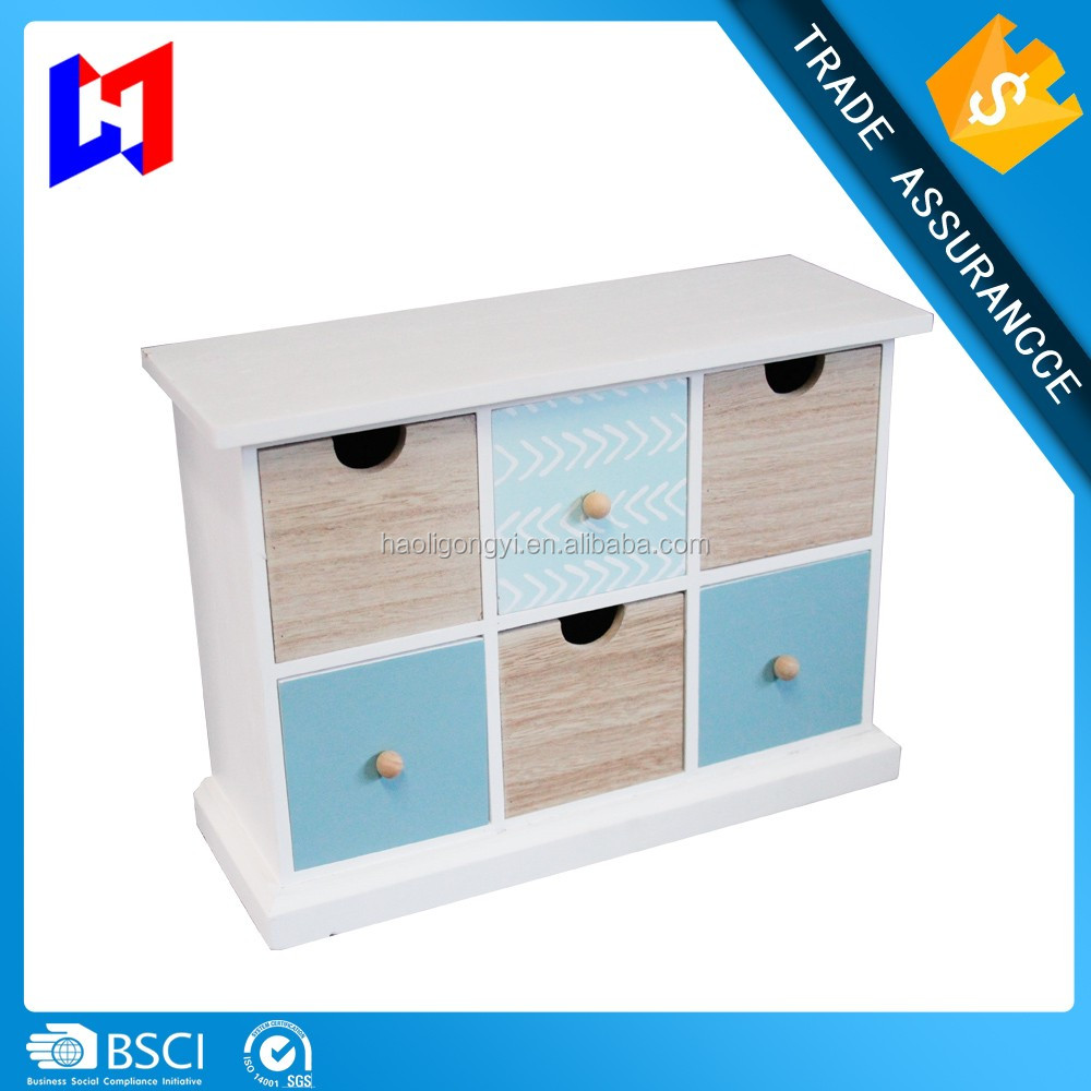 Wood Desktop Office Organizer Drawers / Craft Supplies Storage Cabinet