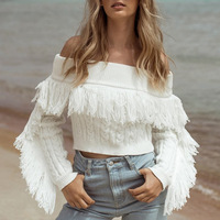 Wholesale Off Shoulder White Tassel Crop Sweater Women