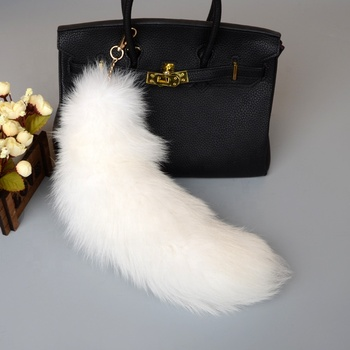 ALICEFUR wholesale mobile and bag pendant real fox fur tail keychain