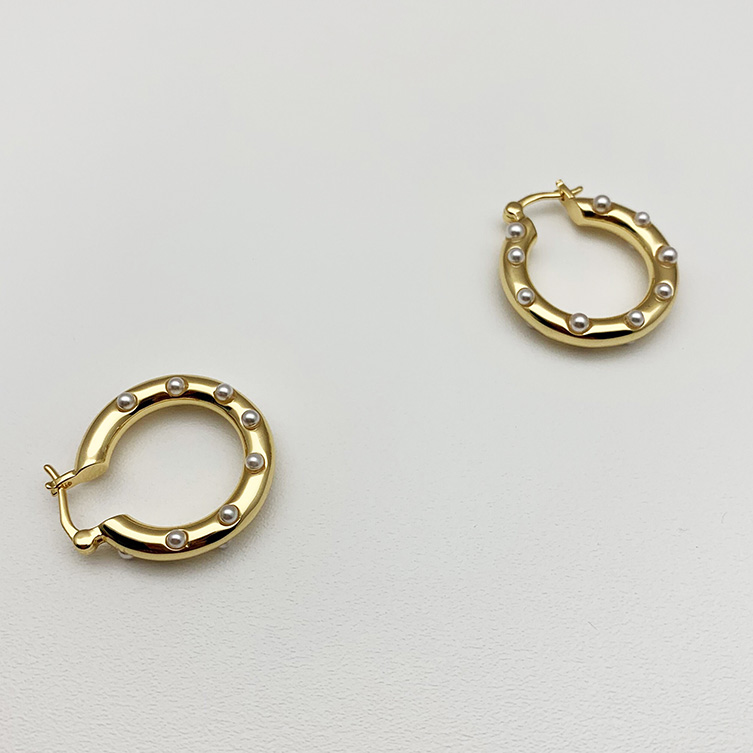 Fashion jewelry brass 18K plated pearl hoop earrings