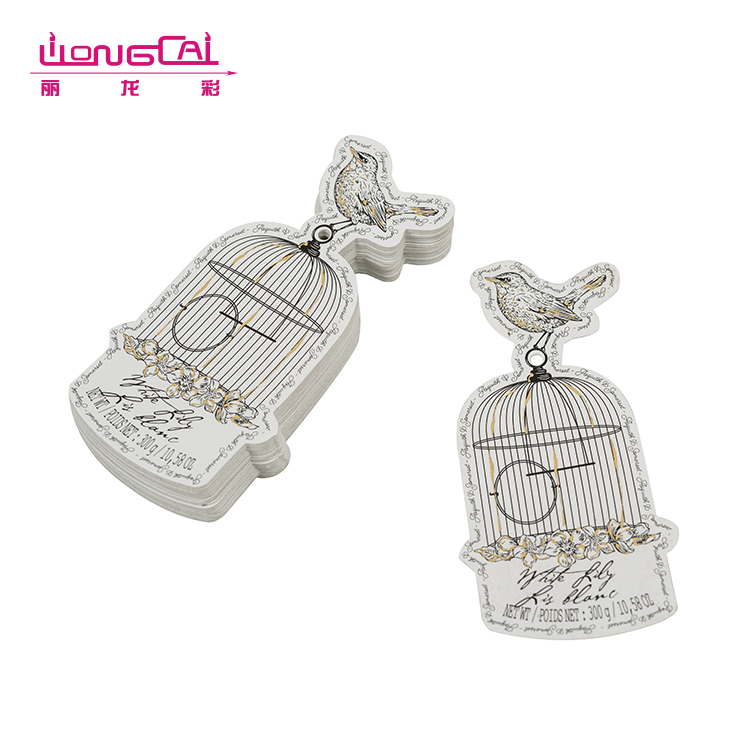 Unique design white wholesale cage shape paper hang tags