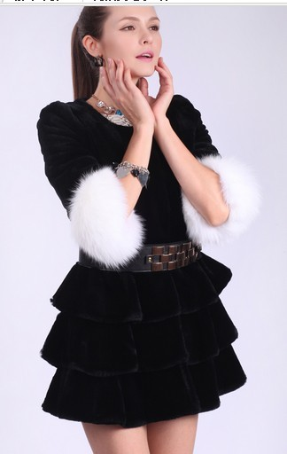 Lady's Fashion Trim Rabbit Fur Coat Dress Jacket/Wholesale And Retail/Long Style